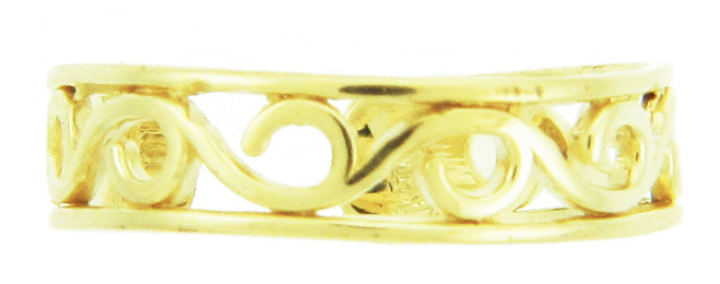 Yellow Gold Wave Toe Ring