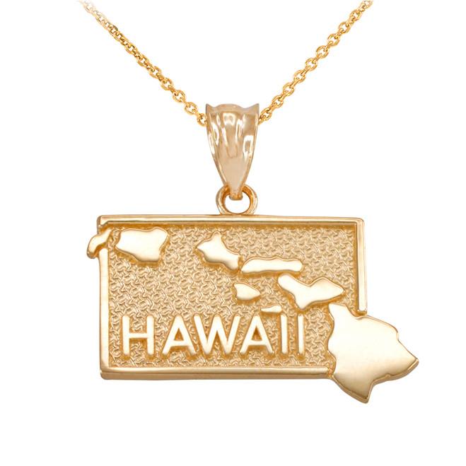 Yellow Gold Hawaii State Map Pendant