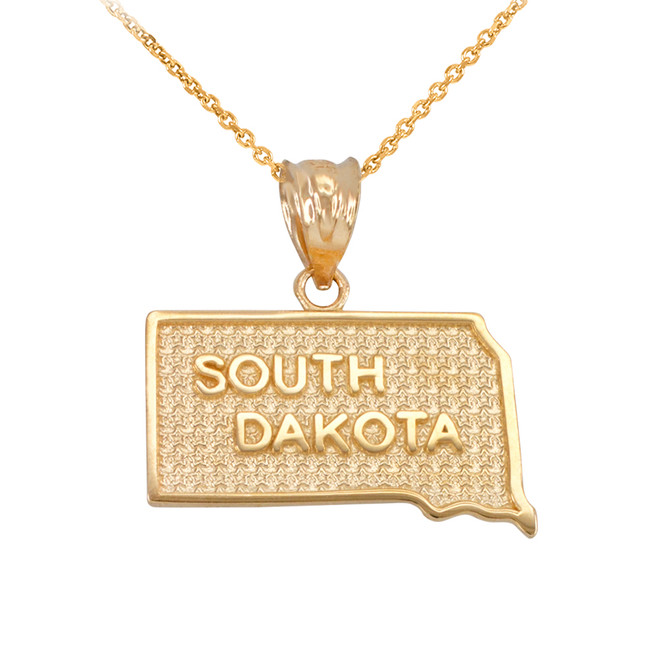 Yellow Gold South Dakota State Map Pendant Necklace