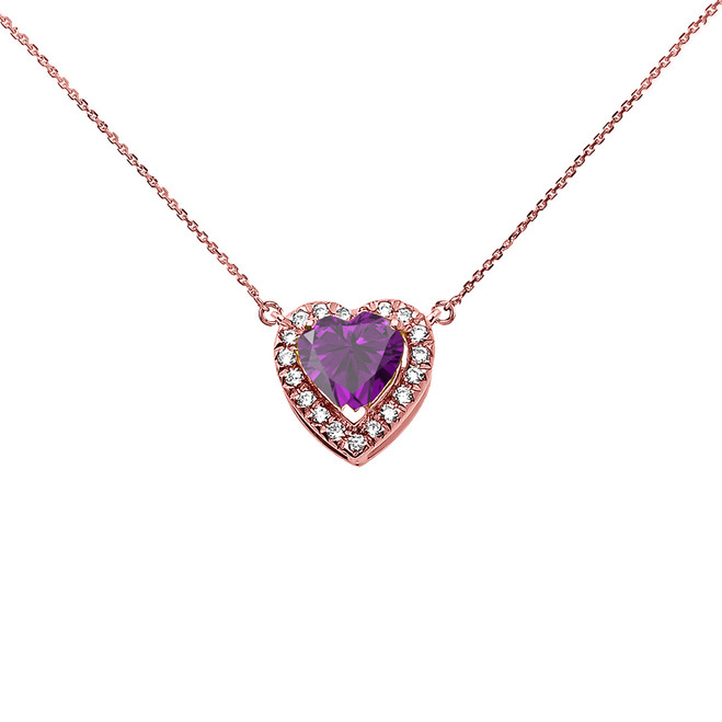 Elegant Rose Gold Diamond and February Birthstone Amethyst Heart Solitaire Necklace