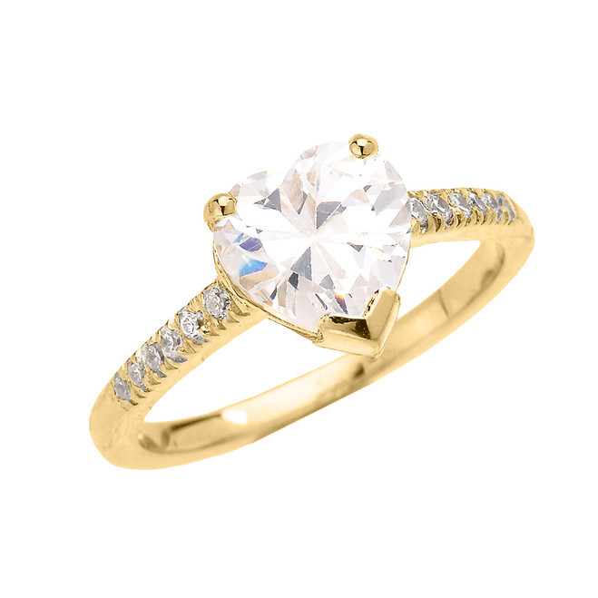 Yellow Gold Dainty Diamond Engagement Ring With 3 Carat Heart Shape Cubic Zirconia Center Stone