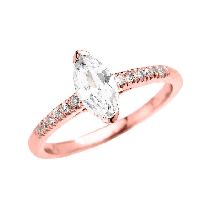 Rose Gold Dainty Diamond Engagement Ring With 1.25 Carat Marquise Shape Cubic Zirconia Center Stone