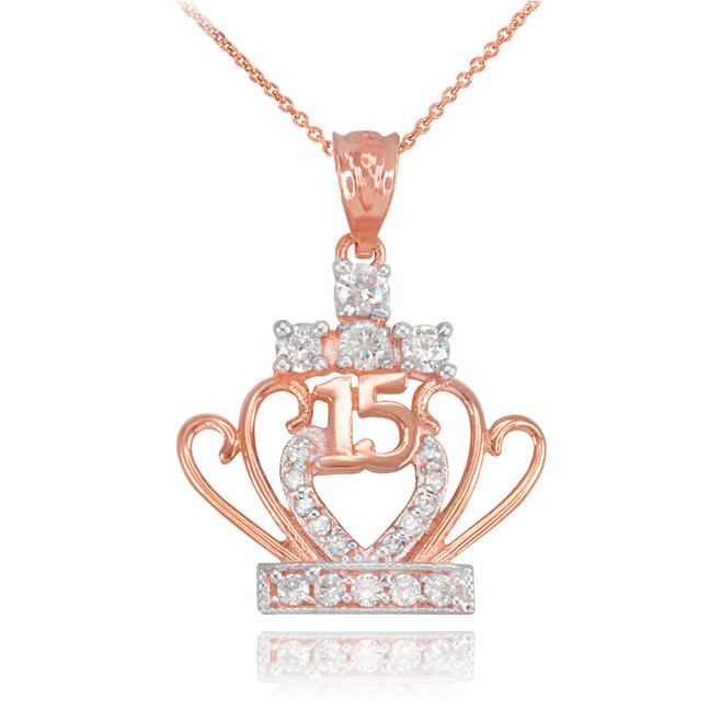 Rose Gold Quinceanera 15 Años CZ Pendant Necklace