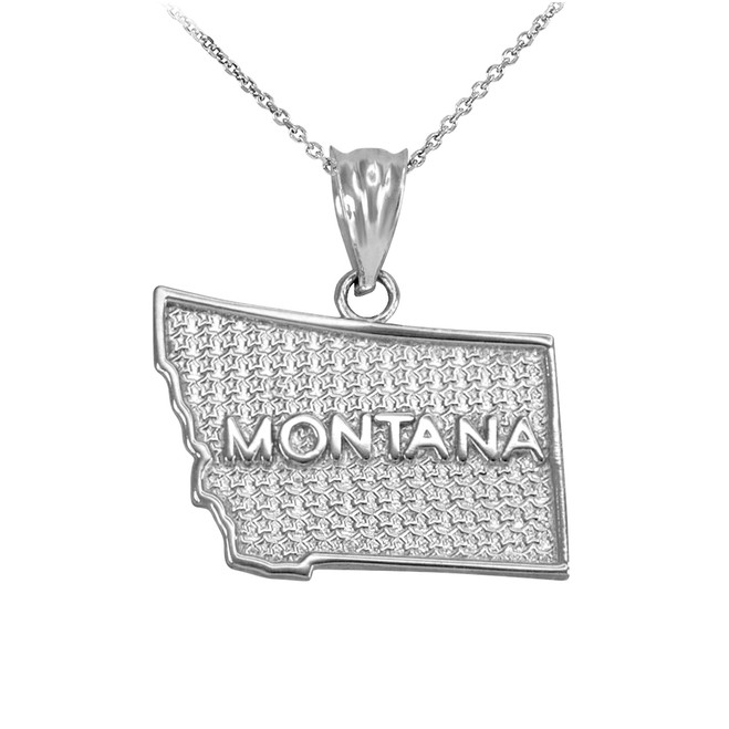 White Gold Montana State Map Pendant Necklace