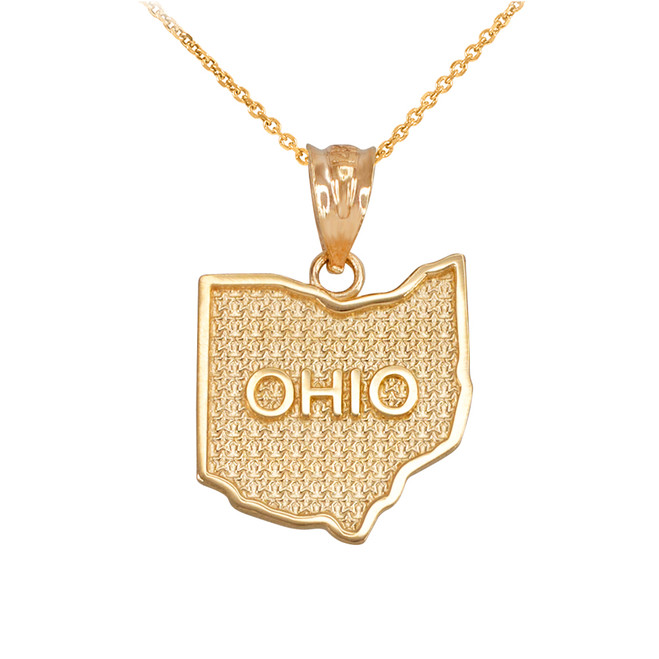 Yellow Gold Ohio State Map Pendant Necklace