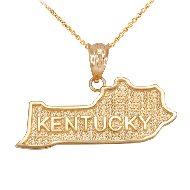 Yellow Gold Kentucky State Map Pendant Necklace