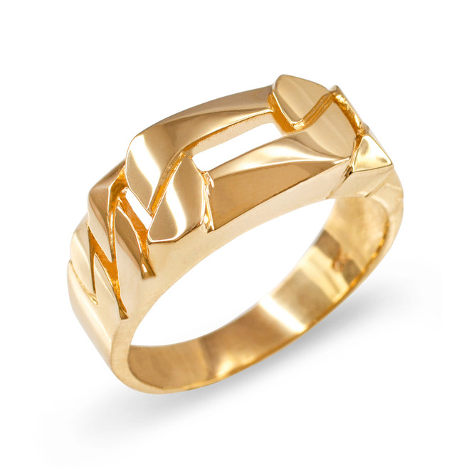 Gold Figaro Link Chain Ring