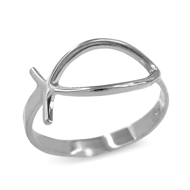 White Gold Christian Ichthus Ring