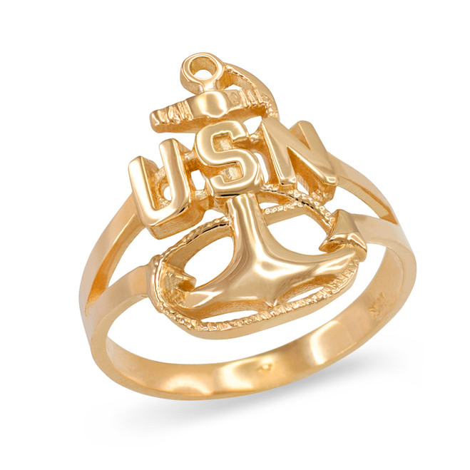 Yellow Gold United States Navy Ring