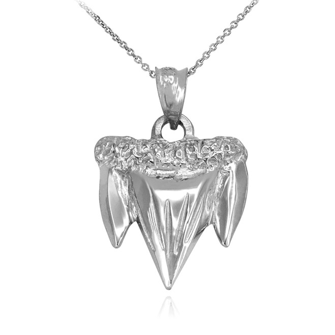 White Gold Shark Tooth Pendant Necklace