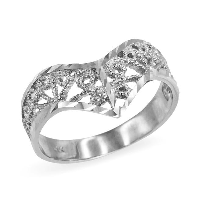 Sterling Silver Chevron Filigree Diamond Cut Ring