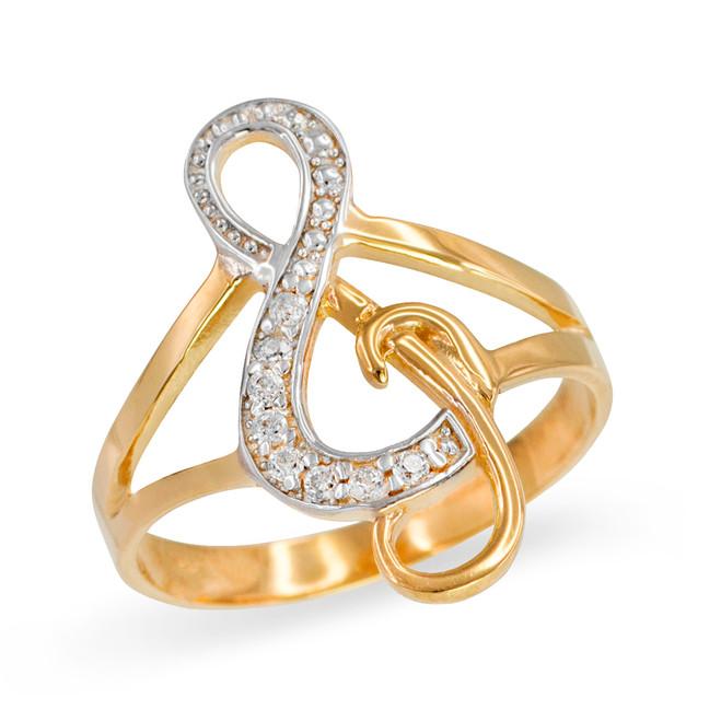 Gold Diamond Studded Treble Clef Music Ring