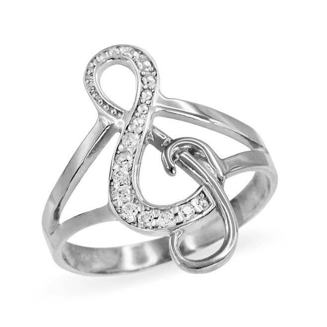 Sterling Silver CZ Studded Treble Clef Music Ring