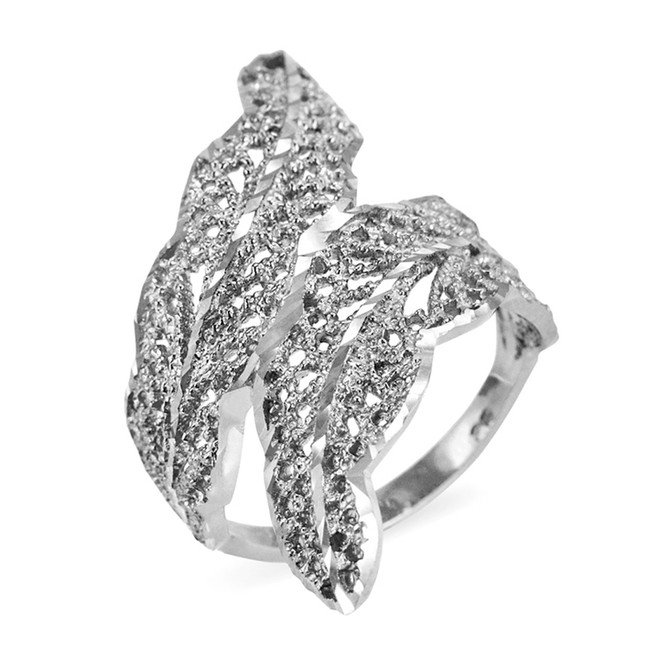 White Gold Diamond Cut Filigree Laurel Wreath Leaf Ring