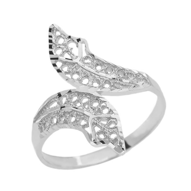 White Gold Diamond Cut Filigree Double Leaf Ring
