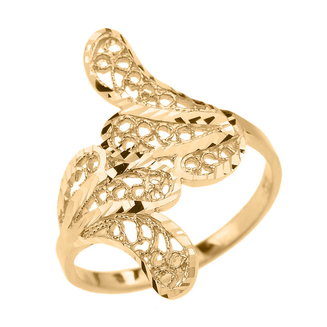 Gold Diamond Cut Filigree Leaf Ring