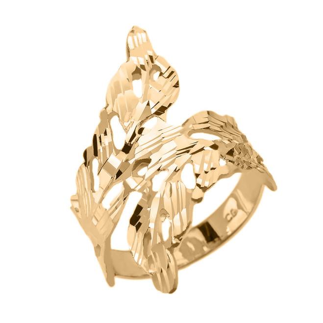 Gold Diamond Cut Laurel Wreath Wrap Ring