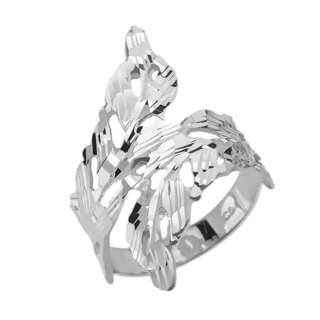 Sterling Silver Diamond Cut Laurel Wreath Wrap Ring