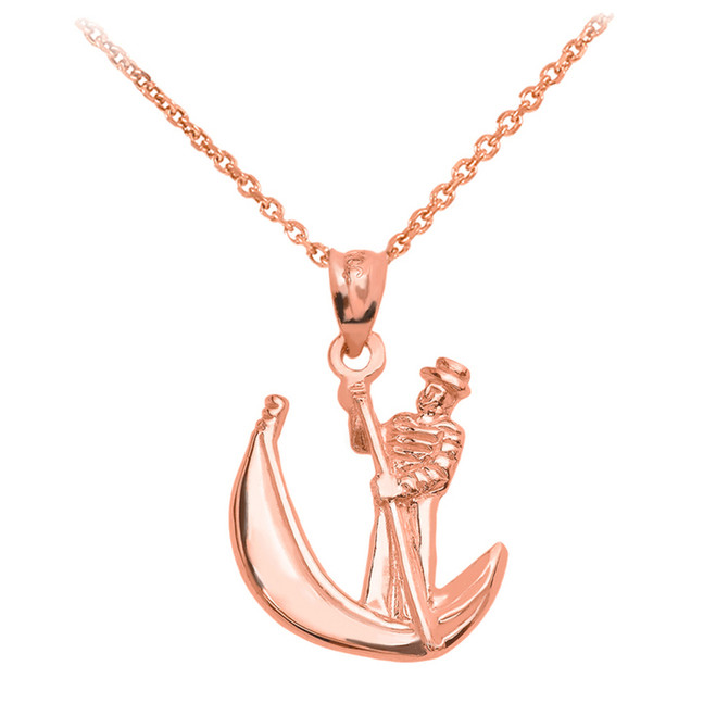 Rose Gold Polished Gondola Pendent Necklace