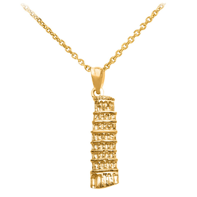 Gold Detailed Leaning Tower Of Pisa Pendant Necklace