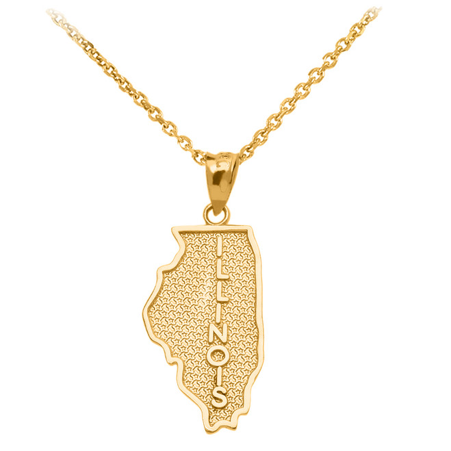 Yellow Gold Illinois State Map Pendant Necklace