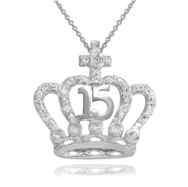 White Gold Quinceanera Crown With Cross Pendant Necklace
