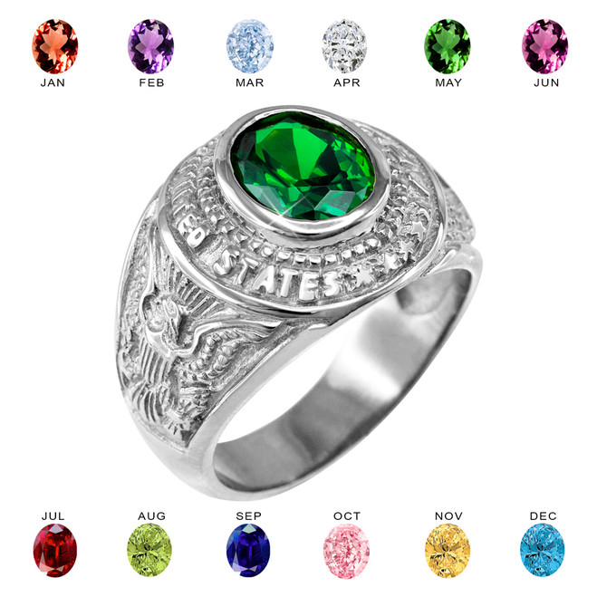 Sterling Silver US Army Men's CZ Birthstone Ring