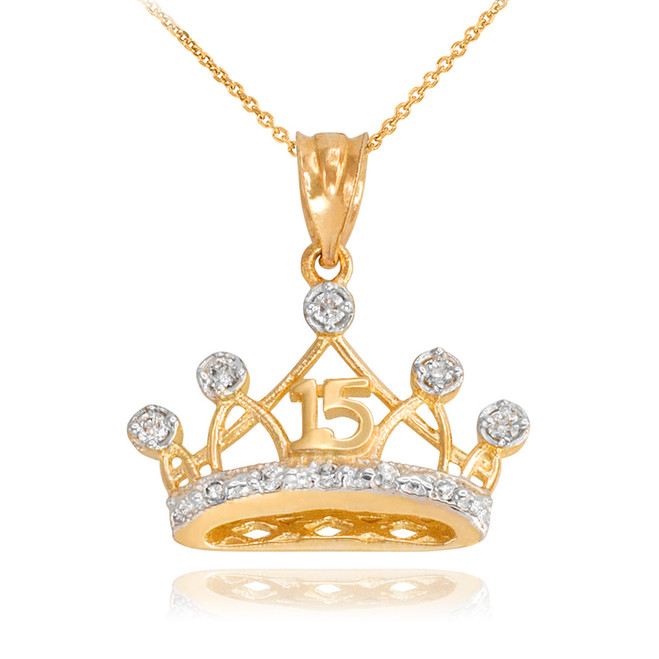 Gold Quince Crown Pendant Necklace