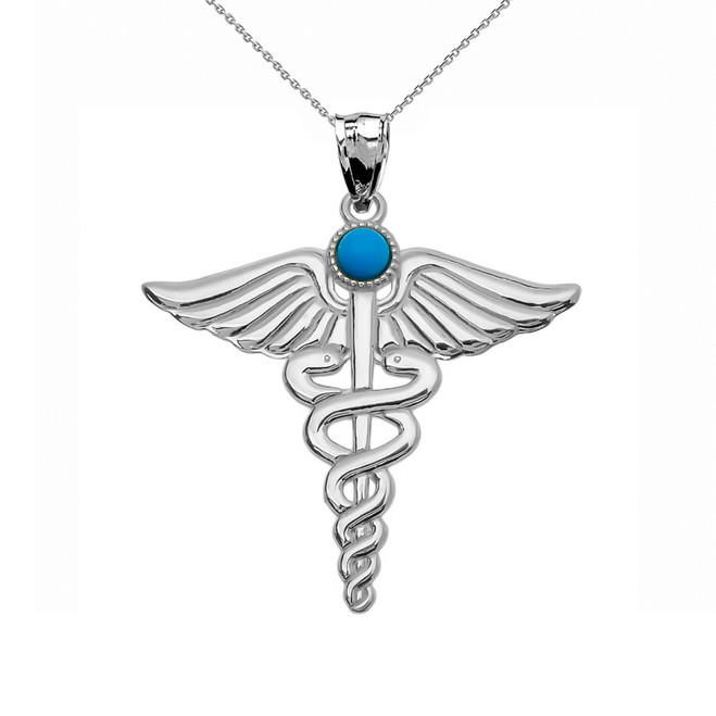 "White Gold Turquoise ""Caduceus""  Medical Pendant Necklace"