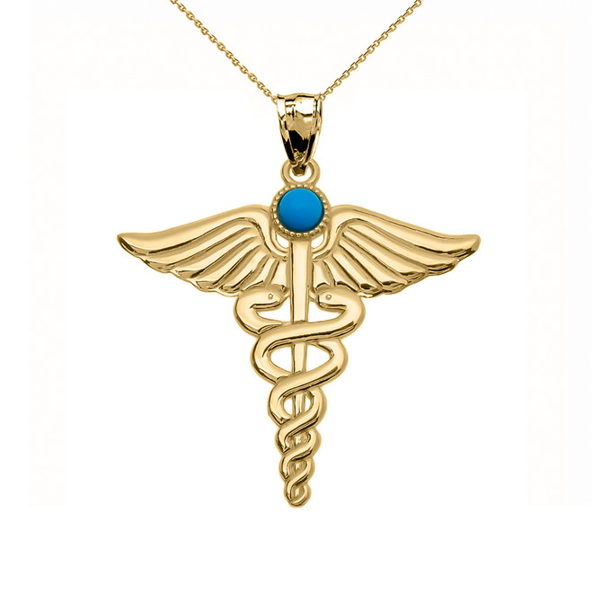 "Yellow Gold Turquoise ""Caduceus""  Medical Pendant Necklace"