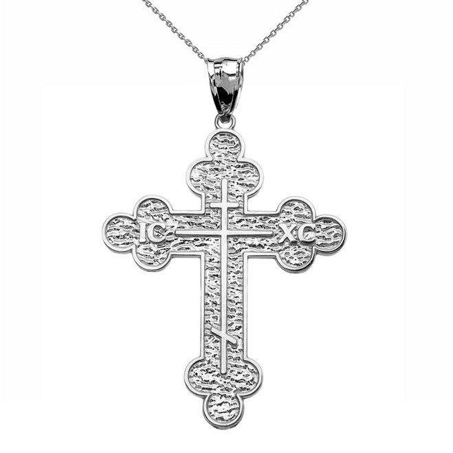 White Gold Eastern Orthodox ICXC Cross Pendant Necklace