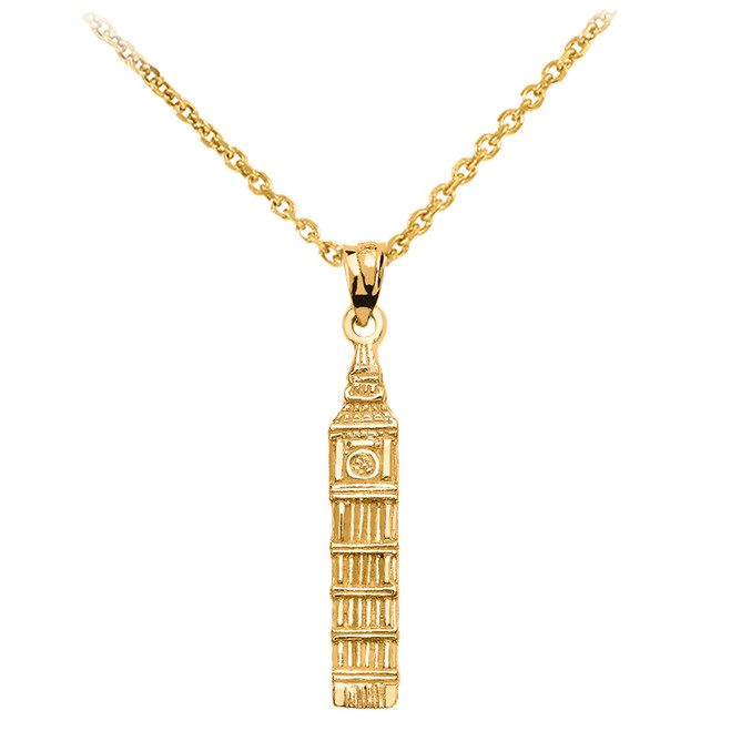 Yellow Gold London's Big Ben Clock Tower Pendant Necklace