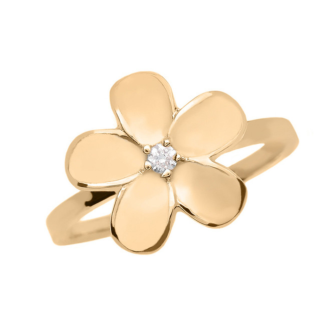 Yellow Gold Diamond Plumeria Flower Ring