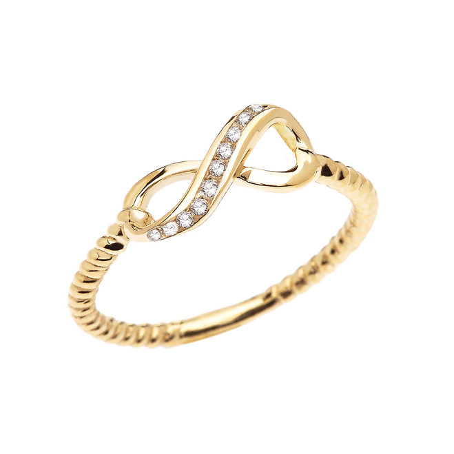 Yellow Gold Dainty Diamond Infinity Promise Ring With Rope Design Band