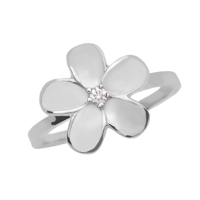 White Gold Diamond Plumeria Flower Ring