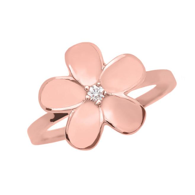 Rose Gold Diamond Plumeria Flower Ring