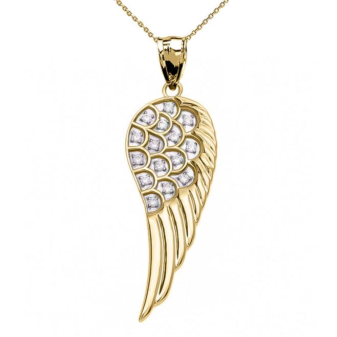 Fancy Yellow Gold Diamond Angel Wing Pendant Necklace