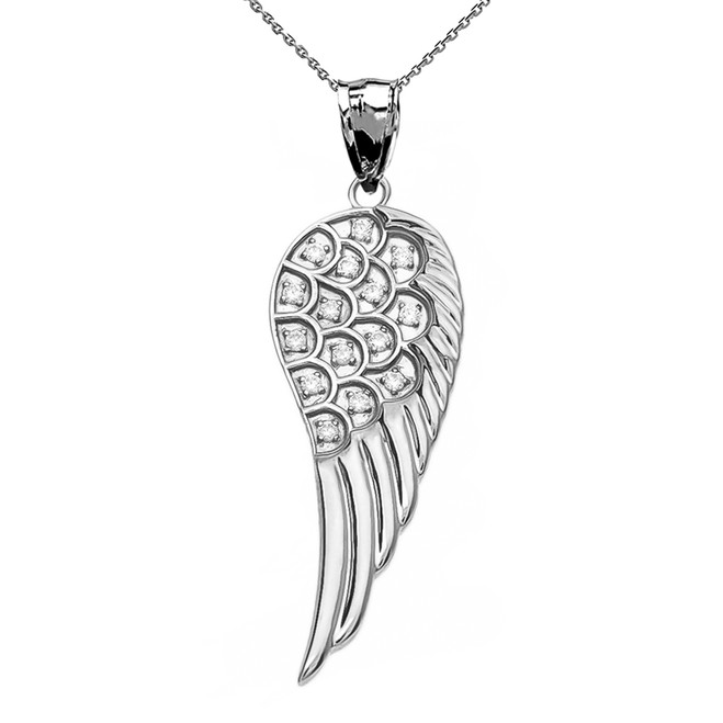 Elegant White Gold CZ Angel Wing Pendant Necklace