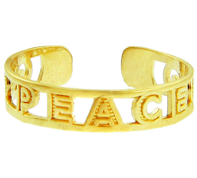 Yellow Gold PEACE Toe Ring