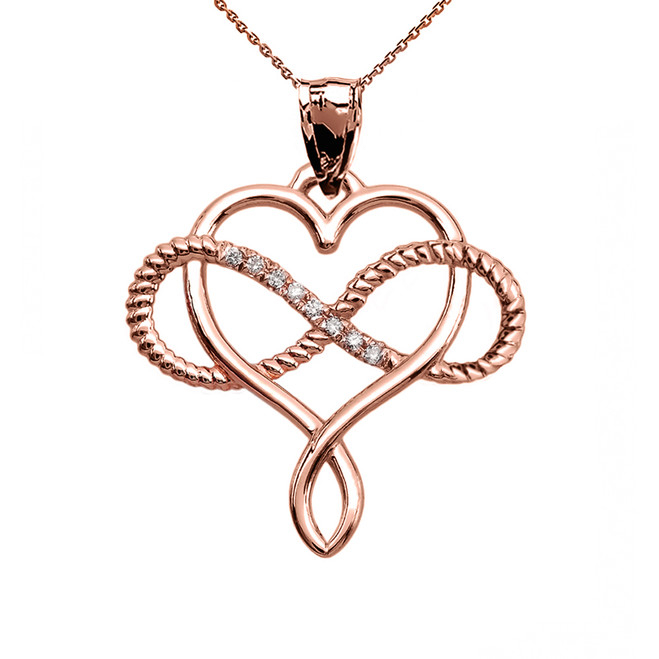 Infinity and Heart Intertwined Diamond Rose Gold Rope Design Pendant Necklace