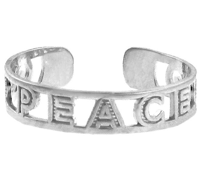 White Gold PEACE 4Toe Ring