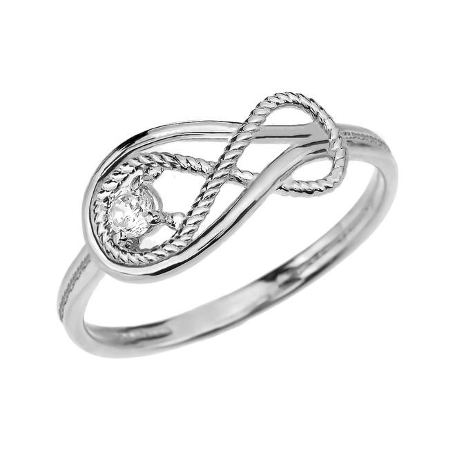 Diamond Rope Infinity White Gold Ring