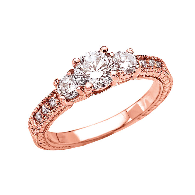 Three Stones Art Deco Diamond Rose Gold Engagement and Proposal Ring With 1 Carat White Topaz Centerstones
