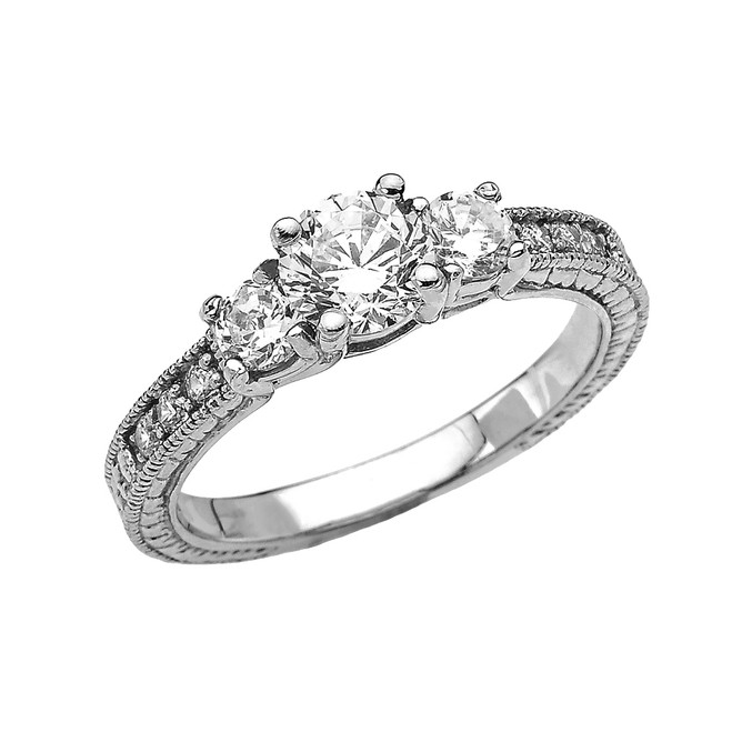 Three Stones Art Deco Diamond White Gold Engagement and Proposal Ring With 1 Carat White Topaz Centerstones