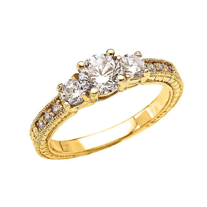 Three Stones Art Deco Diamond Yellow Gold Engagement and Proposal Ring With 1 Carat White Topaz Centerstones