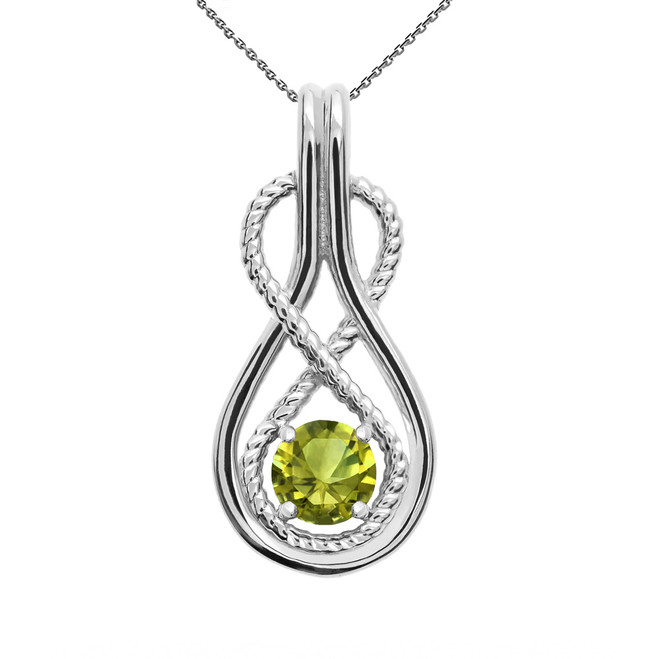 Infinity Rope August Birthstone Peridot White Gold Pendant Necklace