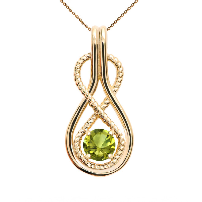 Infinity Rope August Birthstone Peridot Yellow Gold Pendant Necklace