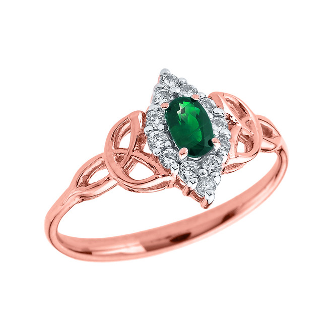 Rose Gold Diamond and Oval Emerald Trinity Knot Proposal Ring