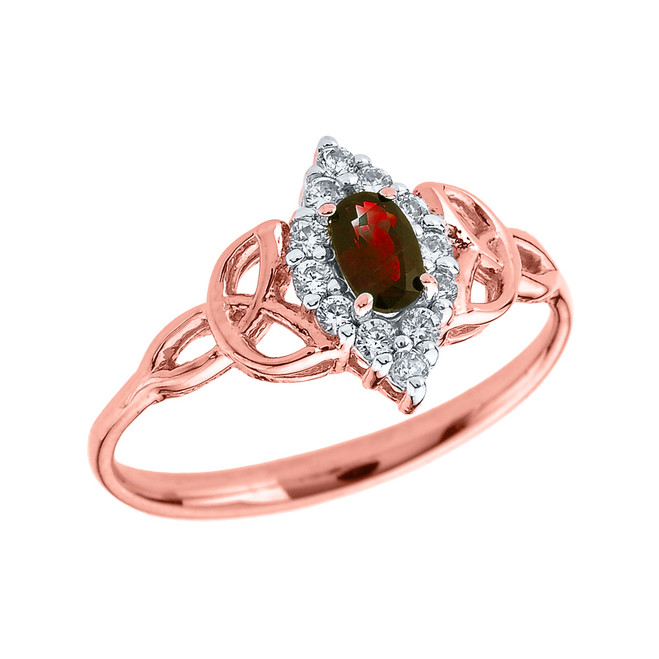Rose Gold Diamond and Oval Garnet Trinity Knot Proposal Ring