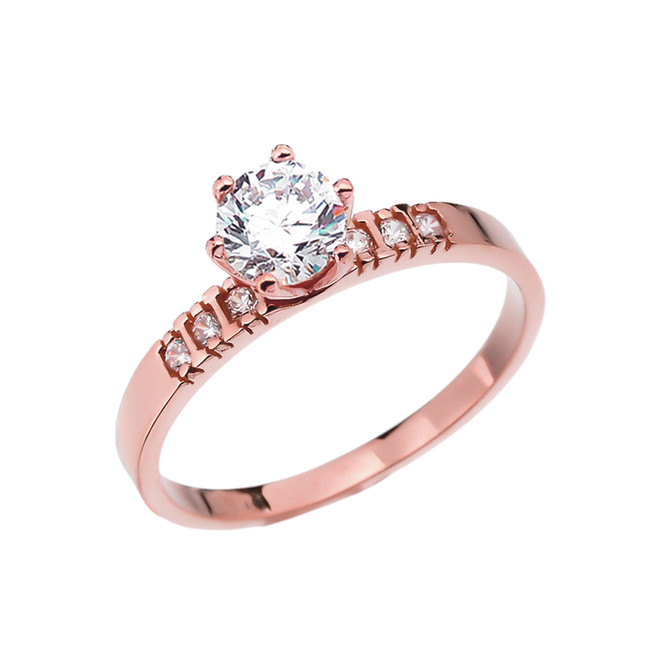 Diamond Rose Gold Engagement Solitaire Ring With 1 Carat White Topaz Center stone